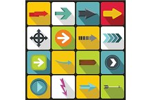 Arrow icons set, flat style