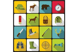Hunting icons set in flat style