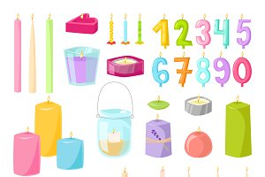 Vector candles isolated set