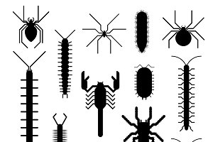 Insects animals vector silhouette