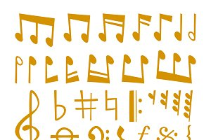Gold music notes vector