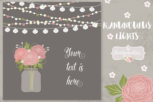 Vector Ranunculus wedding invitation