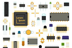 Computer board chip vector