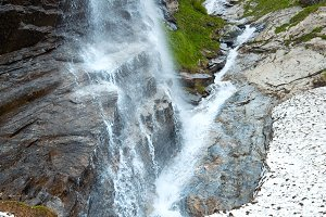 Alps summer waterfall