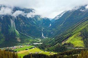 Alps summer waterfall