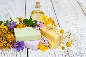 Handmade soap and wildflowers