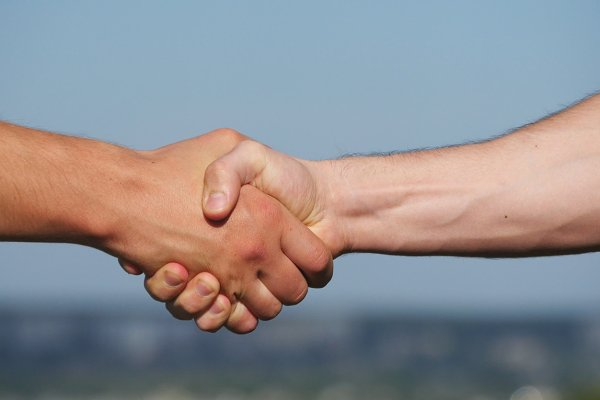 Friendly handshake of two unrecogni…