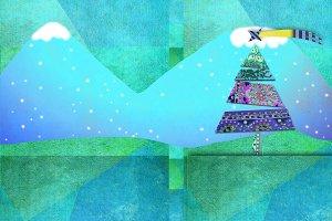 Illustration of Christmas landscape
