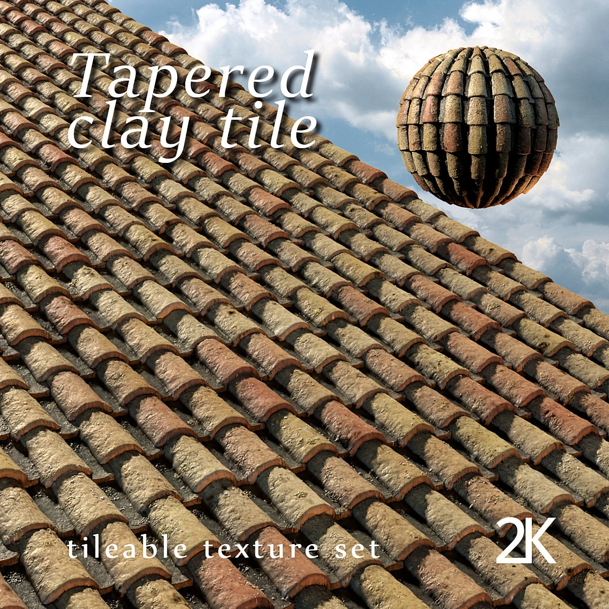 Tapered clay tile or spanish roof tile creative market for Spanish clay tile