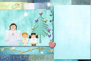Christmas Angel and kids. Copyspace