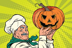 Retro cook with pumpkin Halloween