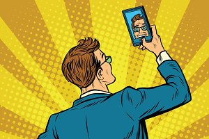 Retro man selfie on smartphone