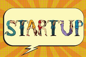 Startup, letters business people