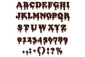 Chocolate alphabet isolated