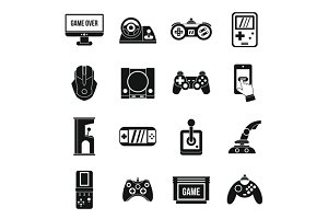 Video game icons set, simple style