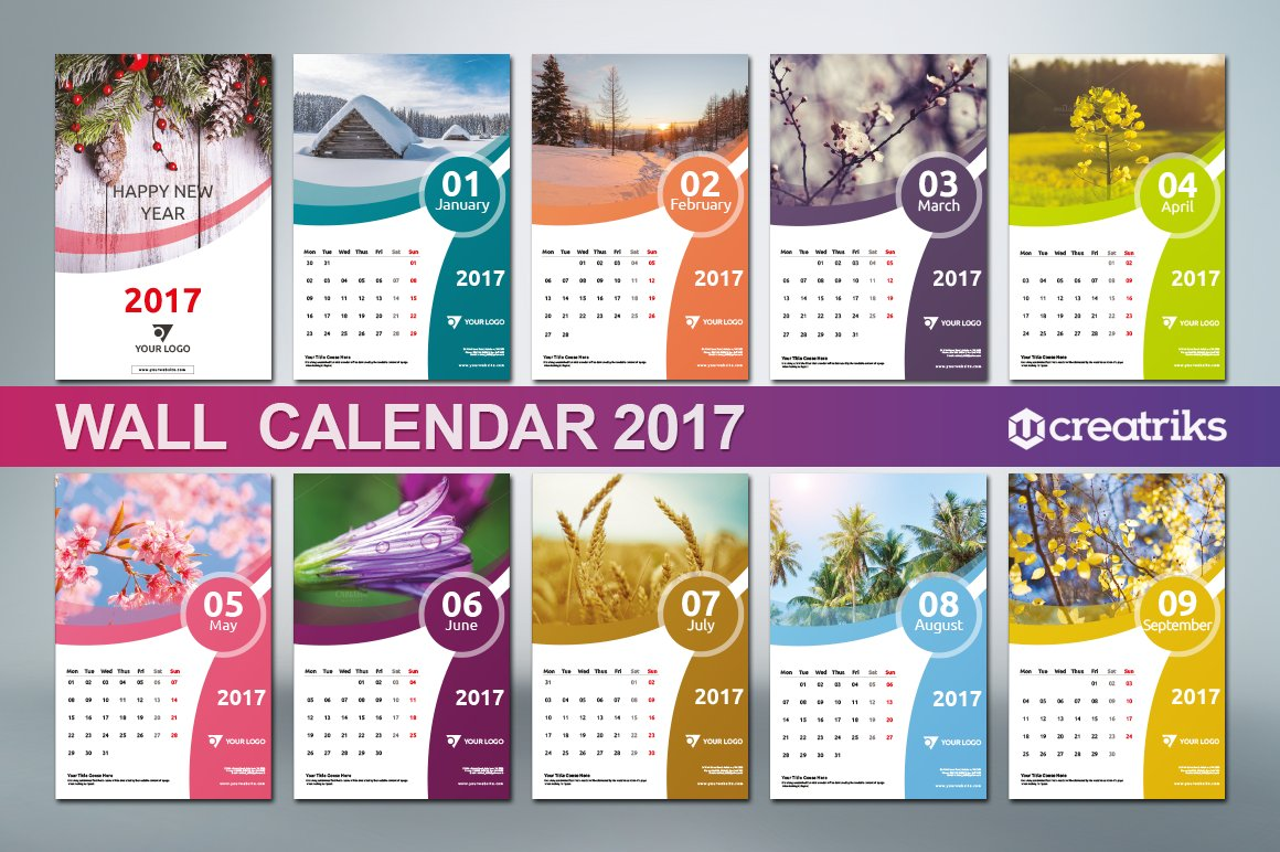 Corporate Calendar Theme Ideas : Wall calendar v templates creative market