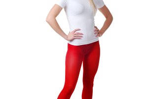l woman in red tights