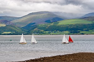 Sailboats in Anglesey Island