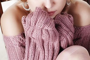 woman in wool sweater