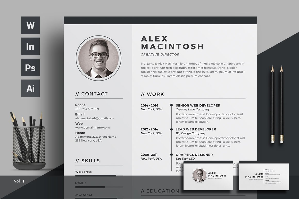 resumecv - Resume Templates Indesign