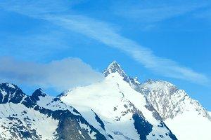 Spring snow on Alps mountain top