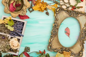 Autumn leaves golden picture frame