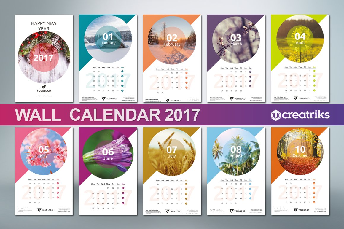 Corporate Calendar Theme Ideas : Wall calendar v presentation templates