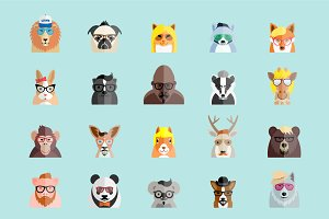 Hipster Animals Flat Style Faces.