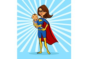 Super mom hold baby characters