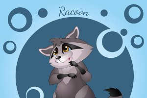 Cute raccoon in cartoon style