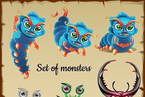 Set of menacing insects - monsters