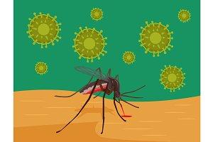 Zika Virus. Mosquito bites skin