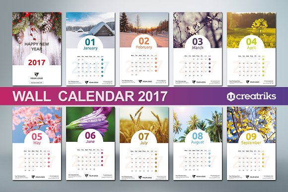 Wall Calendar Graphic Design : Wall calendar v templates creative market