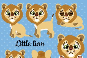 Set of emotions a little cub lion