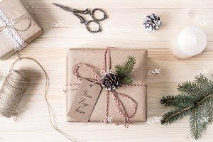 Christmas Gift Box Mock-up. PSD