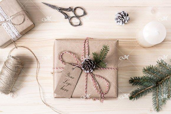 Christmas Gift Box Mock-up. PSD ~ Product Mockups ~ Creative Market
