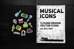 Musical icons | 12 hand drawn icons