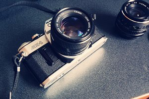 Vintage Camera with Lens