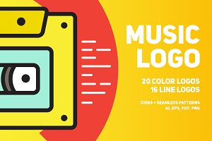 Music logo | 36 color and line logos