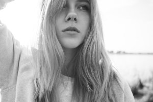black and white photo of a girl