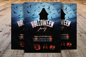Vintage Halloween Party Flyer V4
