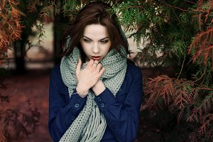 girl in the park with a scarf
