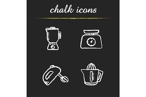 Kitchen appliances. 4 icons. Vector