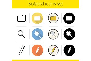 File manager. 4 icons set. Vector