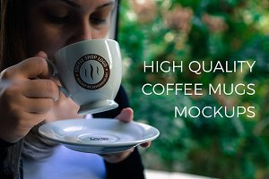 Models with Coffee Mugs Mockups Pack