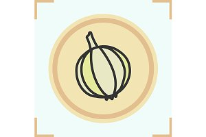 Garlic color icon. Vector