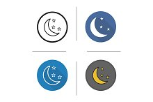 Moon and stars. 4 icons. Vector