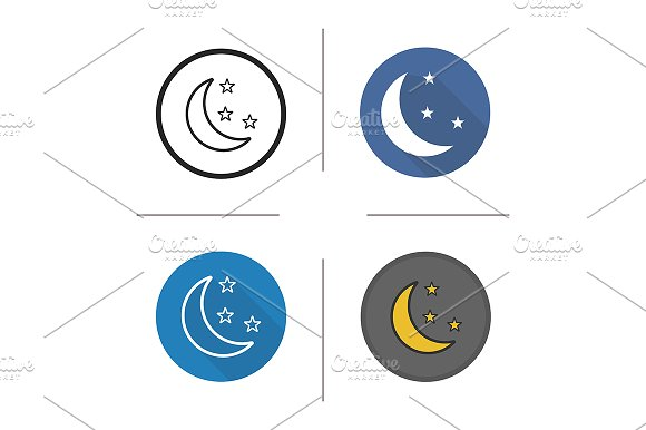 Moon and stars. 4 icons. Vector - Icons