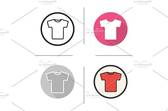 Red t-shirt. 4 icons. Vector - Icons