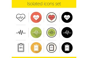Cardiology. 12 icons set. Vector